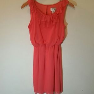 BRIGHT CORAL SWEET STORM SLEEVELESS DRESS